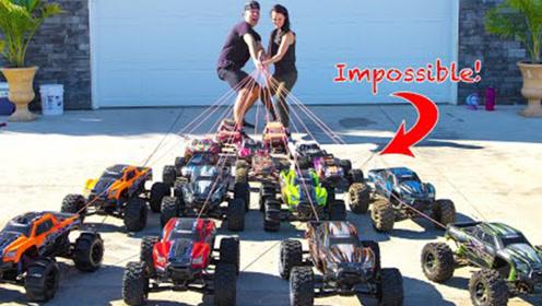 玩具越野车动力有多强,来一场成年人拔河比赛,只能甘拜下风