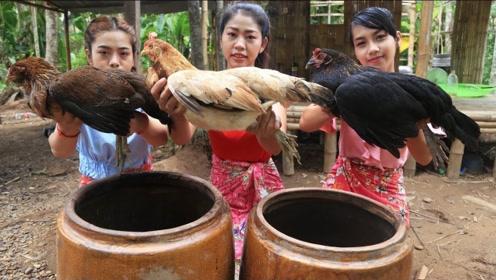 三位美女用水缸制作烤鸡,香气四溢,馋的隔壁小孩都哭了!