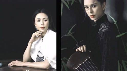 李若彤置身竹林侠女范十足 红衣长发怀抱古琴尽显中国风