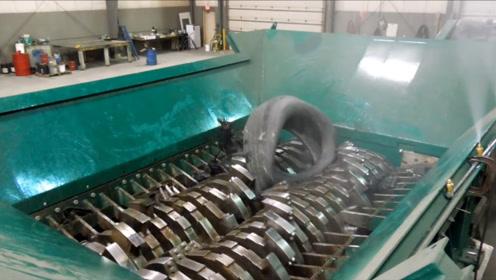 汽车轮胎终结者,1小时撕碎25吨,看着真的解压
