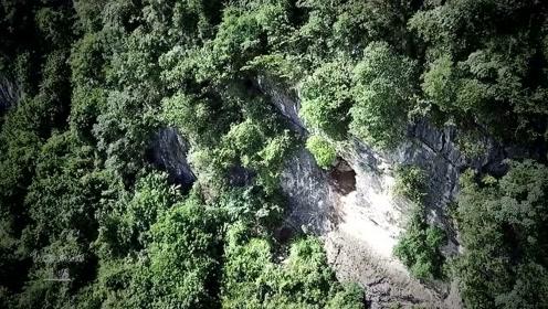 无人机发现1个古怪的崖洞,洞口有堆新挖的泥土,难道暗藏玄机?
