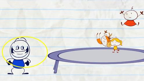 铅笔人嫉妒小朋友玩蹦蹦床,自己跳进去,把小朋友弹飞了