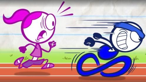 小蓝长跑比赛,中途偷喝饮料,速度瞬间吓倒众人
