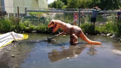 沙雕老外欢乐多,整蛊出场率奇高的暴龙装,这次要戏弄货真价实的鳄鱼
