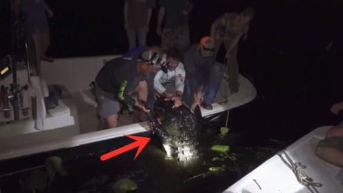 夜钓到超级大鱼,总感觉哪里不对,拉近后众人吓坏了!