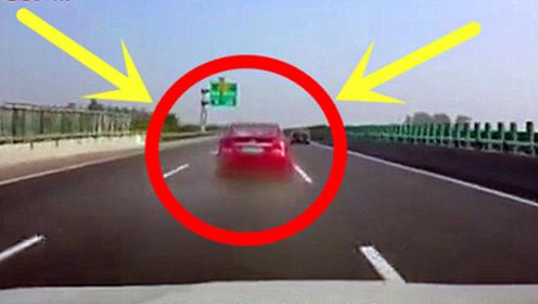 红车高速突然爆胎,后车司机的操作,绝对的老司机!