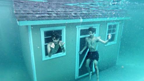 小伙在水下建了栋别墅,挑战生活24小时,结果傻眼了!