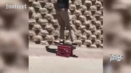 只要你会玩,一个塑料筐子也可以是滑板道具