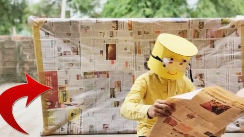报纸原来还能这么玩,老外用五层报纸制作超大的床,躺下后世界都安静了