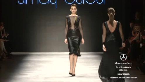 黑色开叉礼服,领口用网纱设计,美丽尽显!
