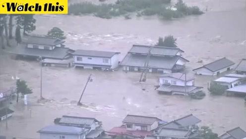 台风海贝思强袭日本致十多人死亡 造成河川溃决房屋被淹