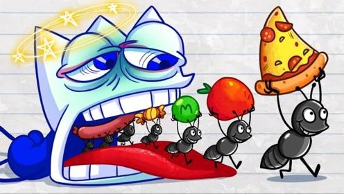 铅笔人想吃烤鸡,却惨遭恶趣味蚂蚁整蛊,结局反转太搞笑!