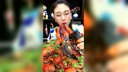 海鲜吃播:10斤龙虾钳子