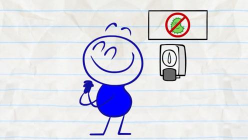 铅笔人略过水龙头,用了免洗洗手液,下一秒竟发现是杀虫剂!