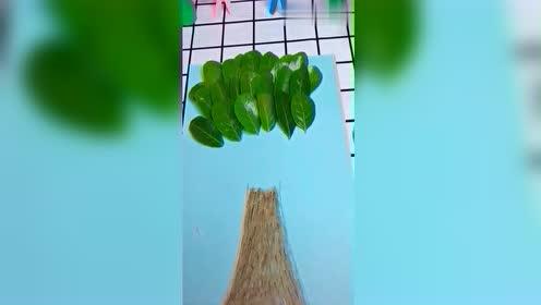 幼儿园儿童树叶贴画,教你贴一颗参天大树,宝妈幼师一看就会!