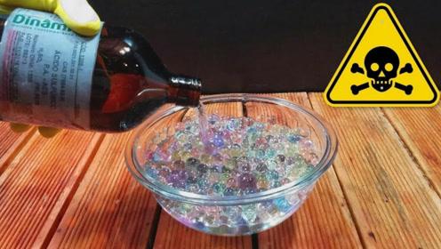 水宝宝遇水会长大,那遇见硫酸会怎样?老外实验,结果让人意外