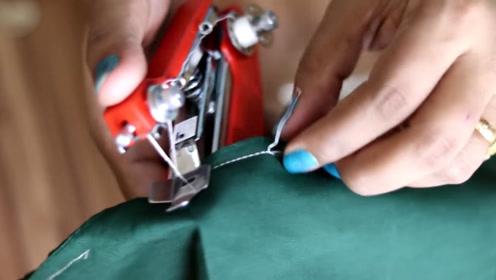 只有订书机大小的缝纫机,10秒钟缝好衣服缺口,比针线方便太多了