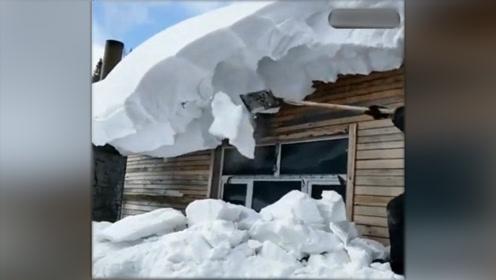 请原谅我们南方人,没见过这么厚的雪,房子都塌了!