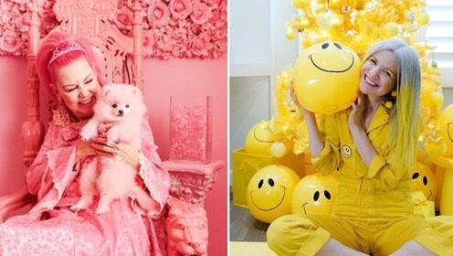 """国外奇葩美女相遇了!一个爱""""粉色""""一个迷""""黄色"""",站一起太有趣!"""