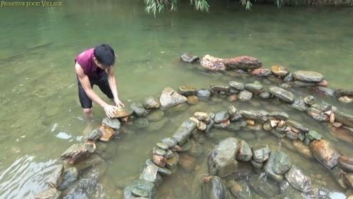 农村小哥在水中布下石阵,自动困住过路大鱼,为这机智点赞!