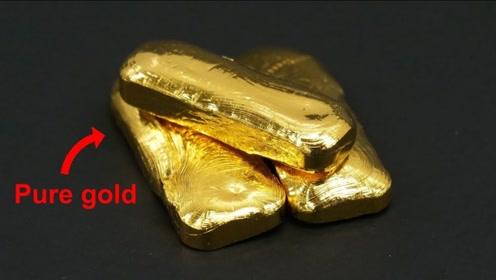 镀金首饰能提炼出多少黄金?老外亲自测试,看到最终成品高兴坏了