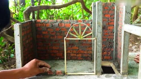 男子打造一座缩小版别墅,20年的泥工师傅都叹为观止,大写的服