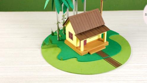 纯手工制作,用瓦楞纸制作小房屋绿树草坪,忽然一笑