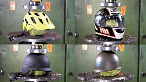 哪个安全帽的质量最结实?老外用液压机测试,看完就知道了