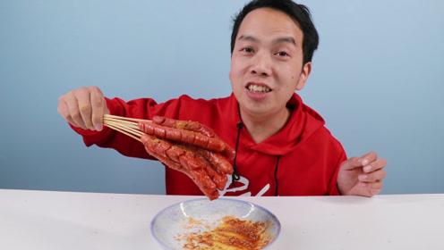 """网上学的""""油炸火腿肠""""真的好吃吗,一口下去感觉太爽了"""
