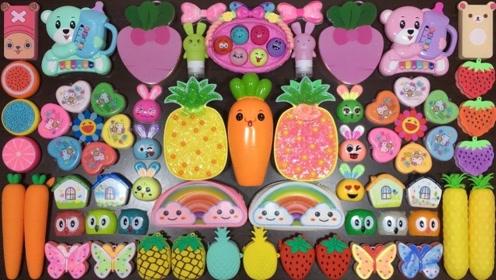 DIY史莱姆教程,草莓彩泥+小熊起泡胶+胡萝卜黏土,好玩不粘手