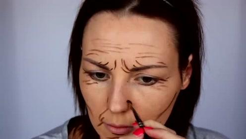 看似普通的线条,搭配粉底后,小姐姐看着像老了30岁!