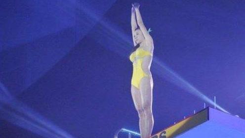国外女子参加跳水比赛,一顿操作猛如虎,起跳只有一米五