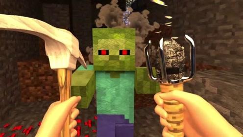 玩家寻找山洞的出口,敲开石块找到了出去的路,第一人称视角游戏
