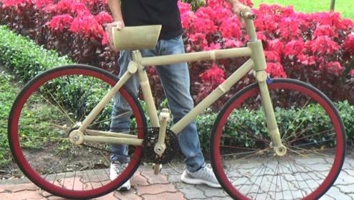 牛人用竹子当车架,打造一辆自行车,网友:你真优秀啊