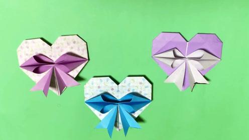创意手工折纸DIY,教你折叠爱心蝴蝶结礼物盒装饰