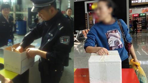 女子带活鸡上高铁安检被拒,警察一个暖心举动帮她上车