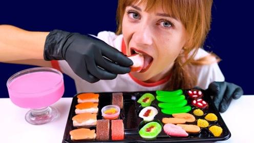 """小姐姐吃超流行的""""寿司橡皮糖"""",大口吃得太满足,网友:价格可不便宜"""