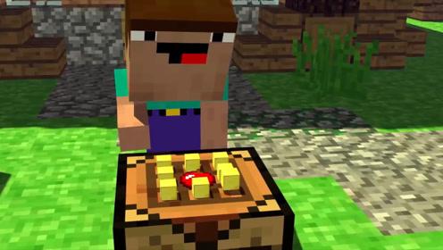 """史蒂夫从树上摘下新鲜苹果,放入""""神秘道具""""变成了金苹果!"""