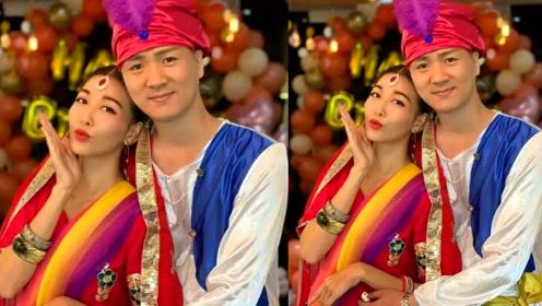 李彩桦为36岁生日庆生印度西施造型抢眼,与丈夫婚后半年罕见合体
