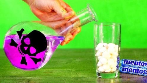 将可乐换成浓硫酸,曼妥思能产生多大冲击?好想躲远点呀