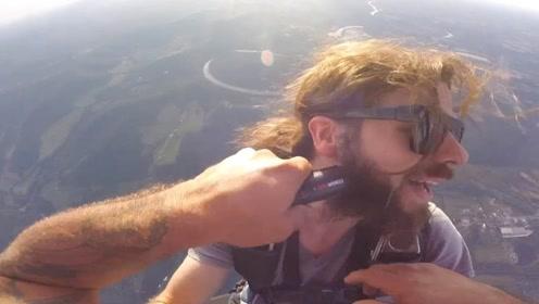 蓄胡子长达7年的小哥,跳伞达到400次在高空中剃胡子,好戏开始了