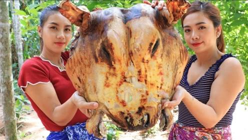 越南的巨型牛头,个头比人还大,一起来看看越南妹子怎么吃!