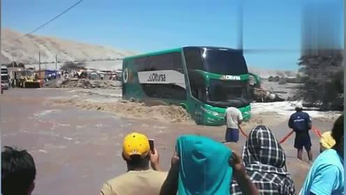 这么大的洪水都敢强行穿越,这巴士车司机真是够猛的