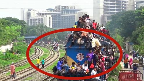 """见识一下什么叫""""人山人海"""":实拍孟加拉国火车,还能再挤点吗?"""