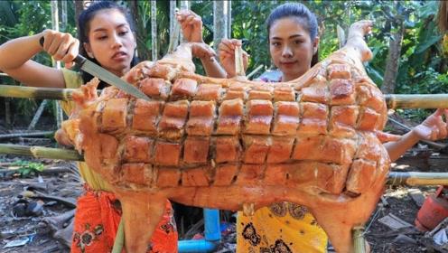 越南妹子是如何吃烤猪的?出锅后食欲满满,实在是太美味了!