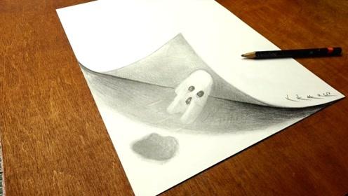 """纸中的""""小幽灵"""",是这样画的,看着创意又有趣!"""