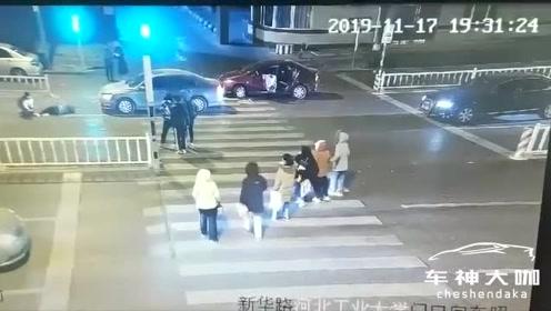河北工业大学学生斑马线被撞