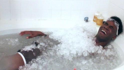 在冰块里躺1小时会怎样?作死老外亲自体验,网友:120都用不上了