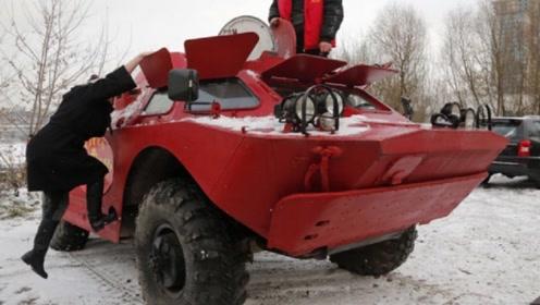 俄罗斯大叔把装甲车改装成出租车,网友:这谁敢上车?