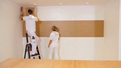 严谨的德国师傅 演示高级墙纸的标准贴法